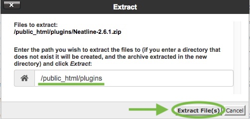 The path and Extract File(s) button is circled.
