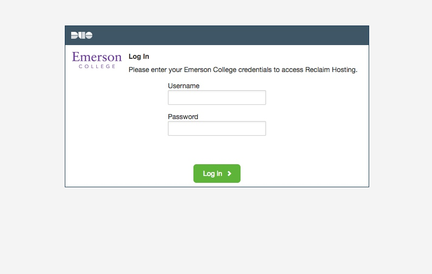 Emerson.build cPanel log-in screen.