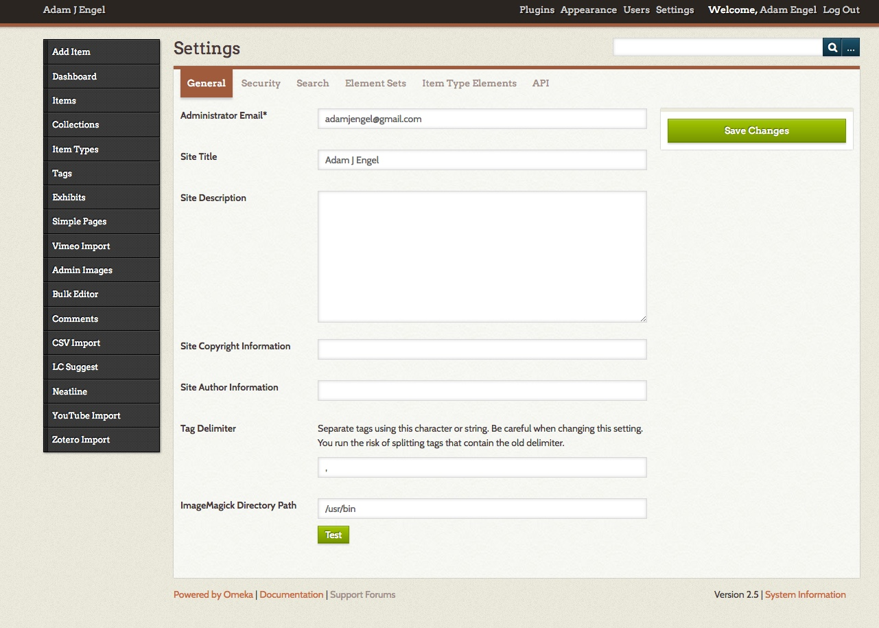 Your Omeka site's Settings page.