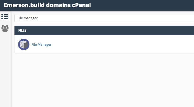 Searching for the File Manager in cPanel.