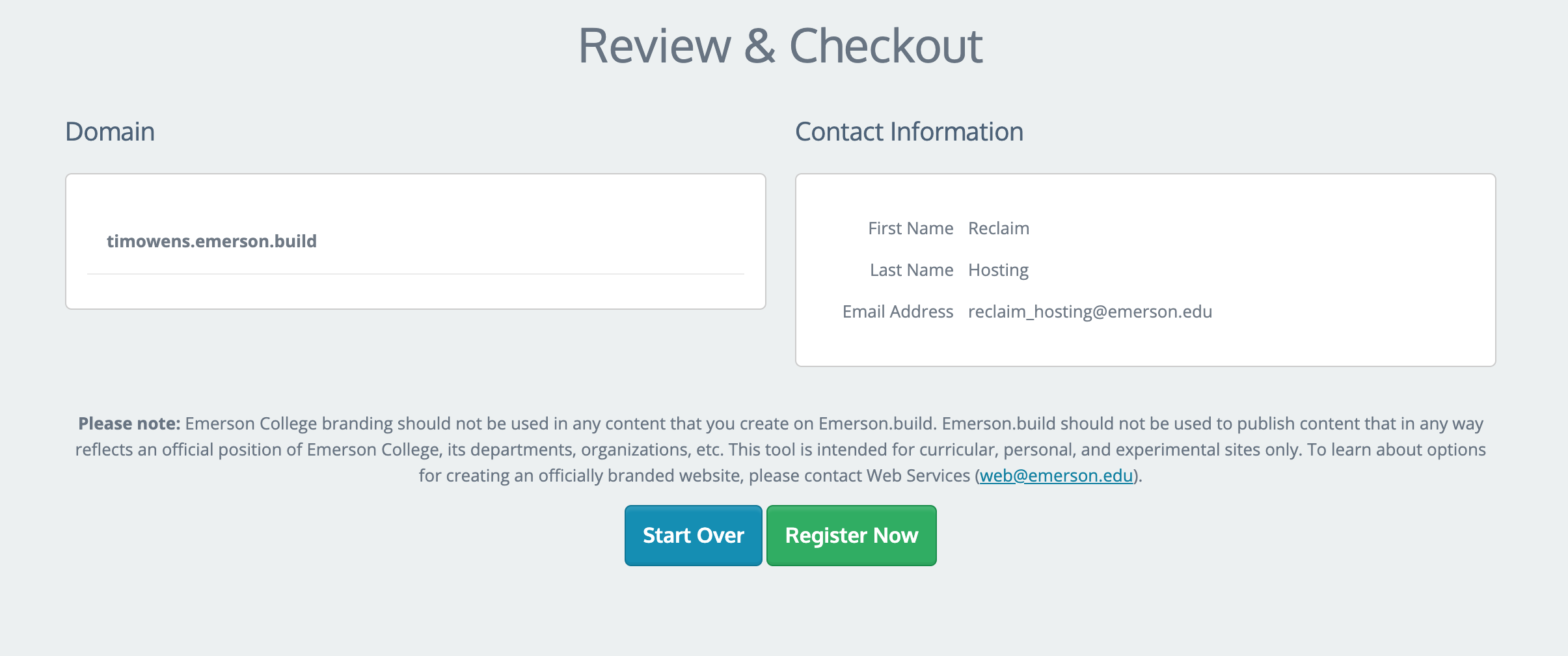 The Review and Checkout screen, with a button to Start Over or Register Now.